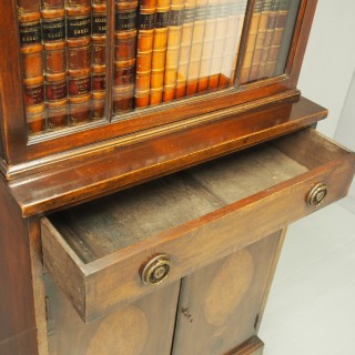 George III Style Mahogany and Inlaid Cabinet Bookcase