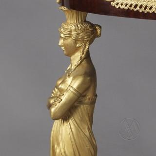Empire Style Gilt-Bronze & Mahogany Gueridon