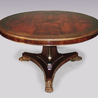 Antique  19th  Century  rosewood and brass inlaid Centre Table.