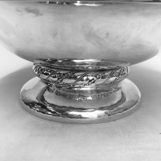 Solid Silver Art Deco Bowl Chased on a Collet Foot. Hammered Finish.