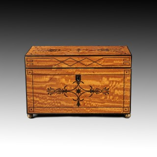 Fine Regency Figured East Indian Satinwood and Ebony Inlaid Tea Caddy.