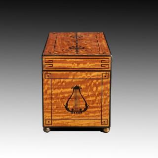 Fine Regency Figured East Indian Satinwood and Ebony Inlaid Tea Caddy.