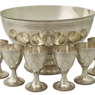 Sterling Silver Punch Bowl and Goblets by CJ Vander Ltd - Vintage Elizabeth II