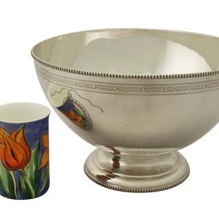 Sterling Silver Punch Bowl and Goblets by CJ Vander Ltd - Vintage Elizabeth II