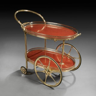 French Mid 20th Century Oval Brass Bar Cart With Removable Tray