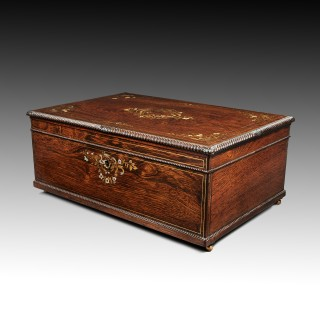 Large 19th Century Rosewood, Brass and Mother of Pearl Box