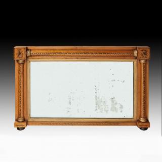 Regency Maple and Gilt Overmantle Mirror Retaining Original Plate