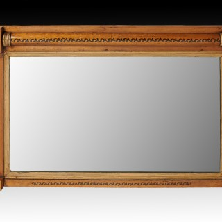 Regency Maple and Gilt Overmantle Mirror Retaining Original Plate