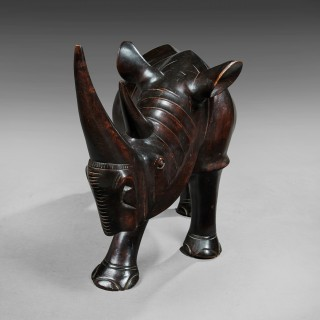 Outstanding Large 2.5 ft Wide French Walnut Carved Rhino