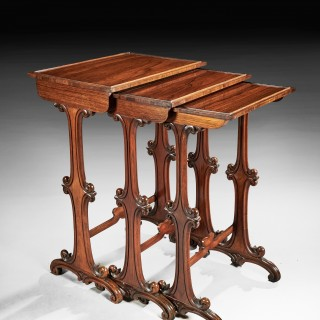 A Rare Nest of Three George IV Gillows Rosewood Tables