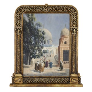 Orientalist watercolour of the Dome of the Rock by Hans Aescher