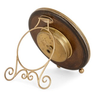 Gold and pearl circular table clock in the manner of Fabergé