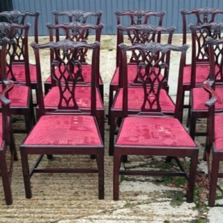 Set of Twelve Nineteenth Century Mahogany Antique Dining Chairs
