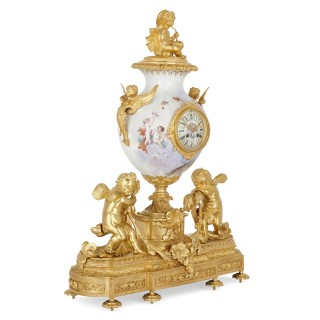French Rococo style gilt bronze mounted porcelain clock set