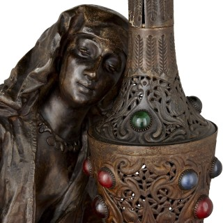 Orientalist spelter lamp with female figure