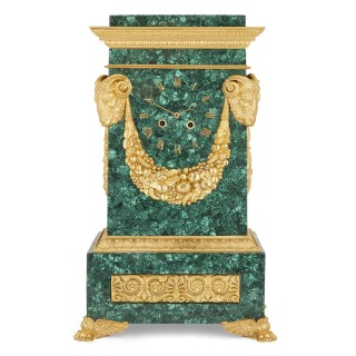 19th Century Restauration period malachite and gilt bronze mantel clock