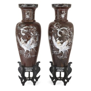 Pair of papier-mâché and mother of pearl vases