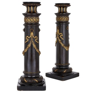 Pair of 19th Century English ebonised wood columns
