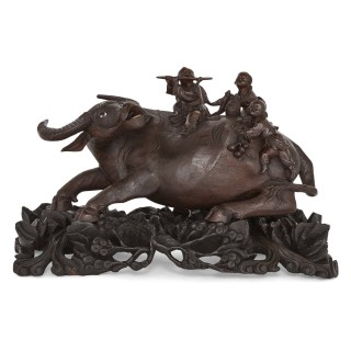 19th Century Chinese hardwood figural group of cow and children