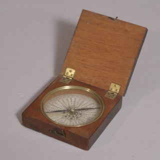 Antique 19th Century Mahogany Cased Explorer's Compass