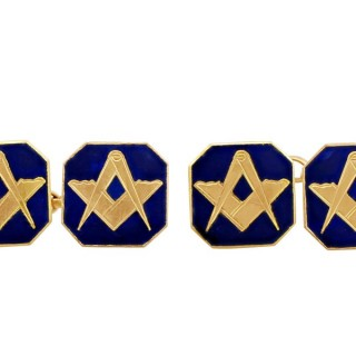 9 ct Yellow Gold and Enamel Freemasons' 'Square and Compass' Cufflinks - Antique Circa 1930