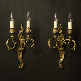 French Pair Of Bronze Antique Wall Sconces