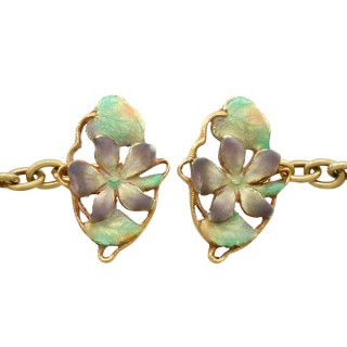 Enamel and 15ct Yellow Gold Cufflinks - Antique Circa 1910