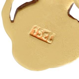 Enamel and 15ct Yellow Gold Cufflinks - Antique Circa 1910
