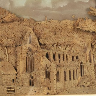 Historical Interesting Rare Cork Carving of Tintern Abbey, Wales 19th century