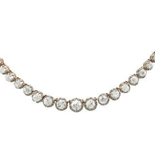 11.12ct Diamond and 18ct Yellow Gold, Platinum Set Necklace - Antique French Circa 1880