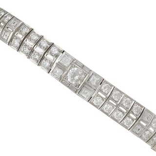 8.38ct Diamond and Platinum Bracelet - Vintage Circa 1950