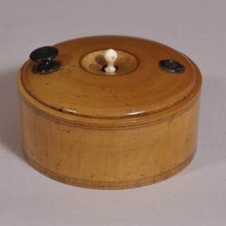 Antique Treen 19th Century Boxwood Cased Roulette Wheel