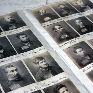 A Very Rare Mid-19thC Ledger Page of Convict Mugshot Photographs from Exeter City Gaol c.1855-65