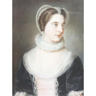 Antique English School Pastel Portrait of a Lady in Archaic Dress 18th Century