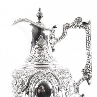 Antique Victorian Silver Plated Claret Jug by Walker & Hall C1880