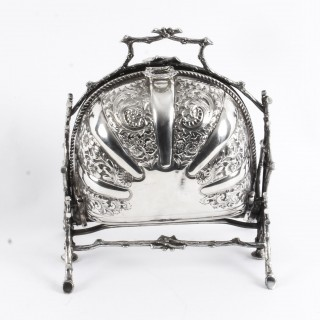 Antique Silver Plate Folding Sweets Biscuit Box The Alexander Clark 19th C