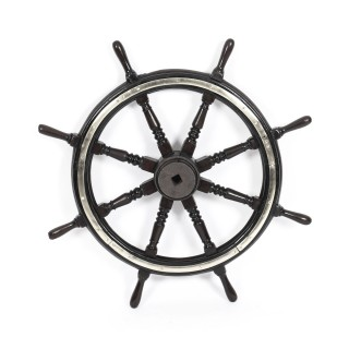 Large Antique Victorian Eight Spoke Mahogany and Brass Ships Wheel 19th Century