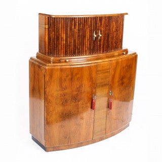 Antique Art Deco Burr Walnut Half Moon Cocktail Cabinet Dry Bar c.1930