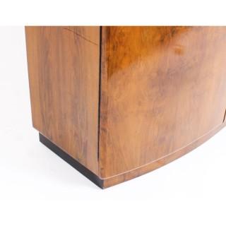 Antique Art Deco Burr Walnut Half Moon Cocktail Cabinet Dry Bar c.1930
