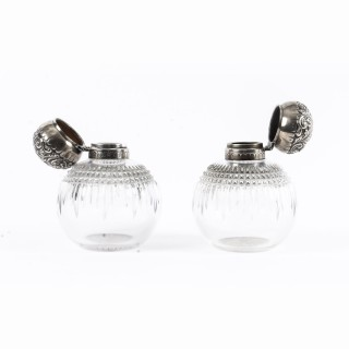 Antique Pair of Sterling Silver Top Cut Glass Perfume Bottles 1894 19th C