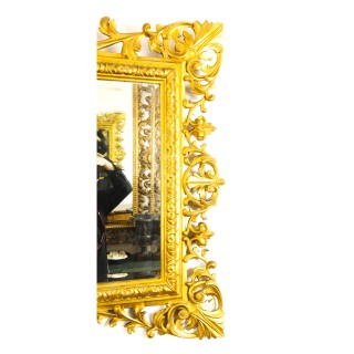 Antique Large English Carved Giltwood Overmantel Mirror c.1860 120x143cm