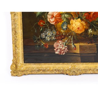 Antique Dutch School Floral Still Life Oil Painting Framed Late 18th C