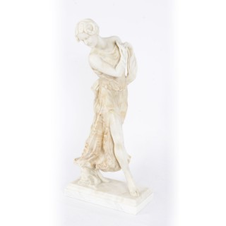 Antique French Art Nouveau Alabaster Sculpture of Dancing Lady 19th Century