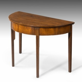 A George III Period Mahogany Demilune Table