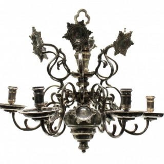 A SILVER PLATED FLEMISH CHANDELIER