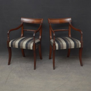 Pair of Regency Mahogany Elbow Chairs