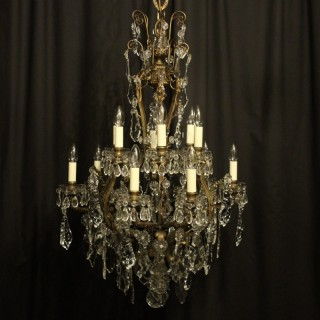 French 19th Century Bronze & Crystal 12 Light Chandelier