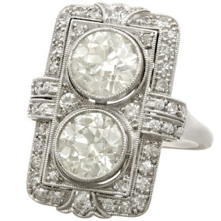4.84 ct Diamond and Platinum Dress Ring - Art Deco - Antique French Circa 1920