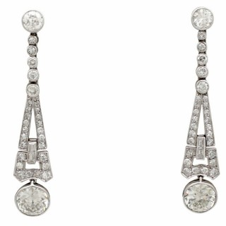 3.02ct Diamond and Platinum Drop Earrings - Art Deco - Antique Circa 1920