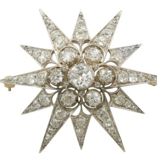 7.08 ct Diamond and 10 ct Yellow Gold Star Brooch - Antique Circa 1880